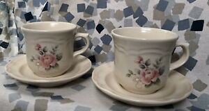 Pfaltzgraff Tea Rose Stoneware Cups And Saucer 4 Piece Set