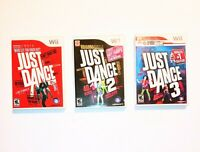 Just Dance 1, 2, and 3 (Nintendo Wii) CIB Video Game Lot
