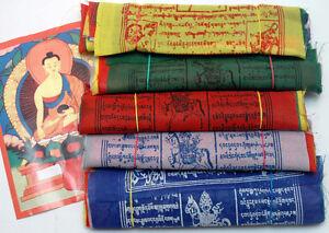 Gebetsfahnen Mini Set mit 5 Stück (gesamt  ca 8 Meter) Tibet Fahne Nepal Buddhis
