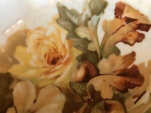 Antique Serving Bowl Autumn Leaves Yellow Rose Germany Iridescent Centerpiece