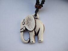 1pcs White Ethnic Tribal Resin Yak Bone Animal Elephant Charm Necklace Pendant