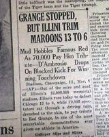 RED GRANGE Illinois Illini Running Back Sport's Biography PHOTO 1925 Newspaper