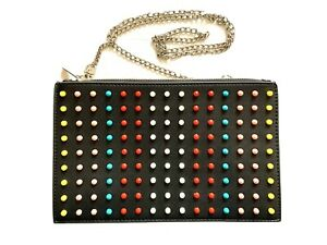 Black Faux Leather Clutch Shoulder Bag Multicoloured Studded