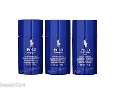 Pack of 3 Ralph Lauren Polo Blue Alcohol Free Deodorant Stick 2.6oz 75g each