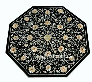 24 Inches Black Marble Inlay Sofa Table Top with MOP Floral Design Coffee Table
