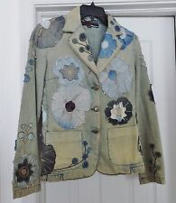 MISS SIXTY ITALY Jacket Coat Denim Distress Look Floral Acid Wash Blue Size S