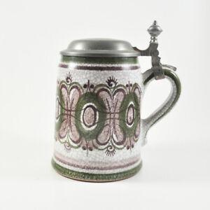 Bierkrug mit Zinndeckel - Gmunden Handarbeit - Krug - Humpen - Vintage Beer Mug