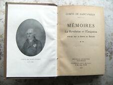 COMTE DE SAINT-PRIEST: MEMOIRES. LA REVOLUTION ET L'EMIGRATION (1929)
