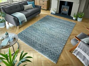 NEW FASHION SANTIAGO MIGUEL HAND KNOTTED STYLE SOFT QUALITY GREY RUG 2 SIZES