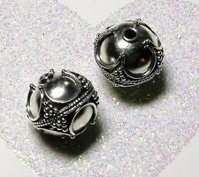 BALI .925 STERLING SILVER 11mm ROUND ORNATE FOCAL BEAD #1438 - (1 bead)