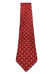 HERMES Paris Red Pelican Fish Pattern Silk Tie