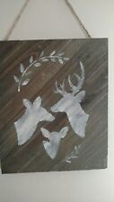 "DEER Family Trio Painted White & Wood Sign Rustic Farmhouse Style Decor 12""x 10"""