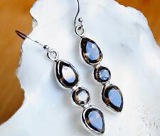 Ohrhänger 4,5 cm Rauchquarz Braun Klar Silber Modern Ohrringe Handarbeit 3 Stein
