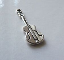10pcs Guitar Charms for Bracelets Music Pendant Necklace Beading Supplies Silver