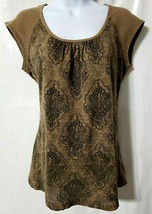 Athleta Mesh Top Women S Chocolate Brown Glitter Emblem Cap Sleeve Scoop Shirt