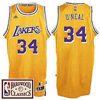 Shaquille O'Neal #34 Los Angeles Lakers Classic Gold Swingman Jersey NEW