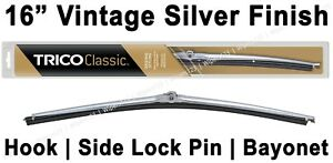 "Classic Wiper Blade 16"" Antique Vintage Silver Finish 
