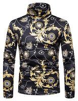 Men's High Collar Turtle Neck Baroque Design Long Sleeve Sweater Pullover Shirt