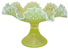 "Fenton Hobnail Topaz (Yellow) Opalescent #389  - 12"" Footed DC Bowl"