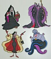 """Disney's Female Villains Deluxe Embroidered Patch Set of (4) 4"""" Tall"""