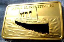 TITANIC Bar Gold Clad Ingot Coin Medallion Belfast Liverpool London Memory Nice