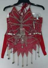 New_Beautiful Belly Dance Butterfly Beaded, Embroidered Set w/ Coins_Red
