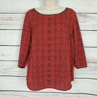 Ann Taylor | Red and Blue Print 3/4 Sleeve Blouse Size Small EUC