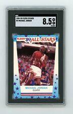 SGC 8.5 — 1989-90 Fleer All-Star Sticker Michael Jordan #3 — Bulls, HOF