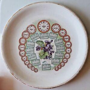Antique 1912 World Time Zone Calendar Semi Porcelain Plate C.P. Co. Flowers