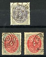 Denmark 1870 skilling numerals 2sk blue and red sg39 (1) and 4sk red and  Stamps