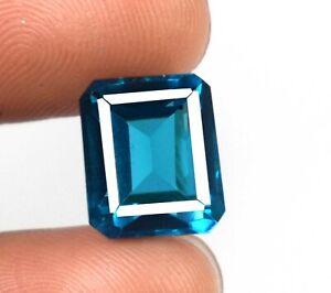 Emerald Cut Blue Indicolite Tourmaline 10.40 Ct Natural Gems Certified A29952