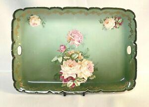 Antique P.T. Bavaria Tirschenreuth Vanity Tray Serving Platter Green Pink Flower