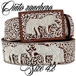 Cinturón Vaquero Piteado Pita Original Leather Belt Charro Cowboy Cintoranchero