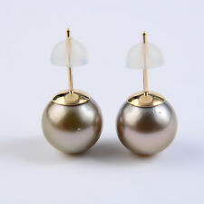 ff62cc0cd 10mm Round Natural Color Real Tahitian Pearl Stud Earrings 9k Solid Yellow  Gold