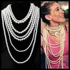 Get The Look White Layered Faux White Pearl  Necklace TS