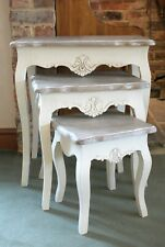 Devon Shabby Chic Cream Nest of 3 Coffee Tables Wooden Side End Lamp Nesting