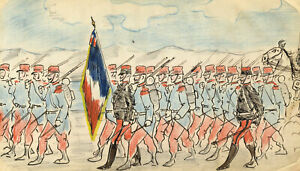 Edouard T. Vieux, French Soldiers Marching with Tricolor – c.1890 ink cartoon