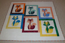 """HANDMADE AND HAND QUILTED QUILT 61 AND 1/2""""w x 55 and 1/2""""H. ITS CALLED """"FOXES I"""