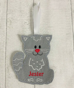 Handmade Personalised Christmas Tree Birthday Decoration Gingerbread Cat Kitten