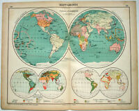 Original 1915 World Map of Colonies & Commerce by Kartographia Winterthur S.A.