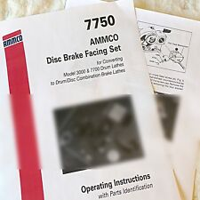 Ammco 7750 Drum Brake Lathe To Disc Rotor Conversion Operating Amp Parts Manual