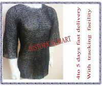 10 MM flat riveted with washer Medieval hubergion Chainmail Shirt MEDIUM SIZE