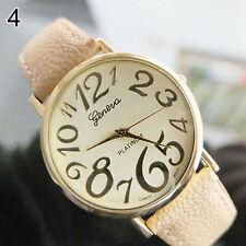 Ladies Fashion Gold Geneva Platinum Quartz Cream Faced Beige Band Wrist Watch.