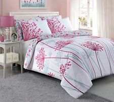 Meadow Pink Teal Grey Reversible Quilt Duvet Cover with Pillow Case Bedding Set