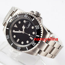 40mm Parnis Black Dial Ceramic Bezel Sapphire Crystal Automatic Date watch 301