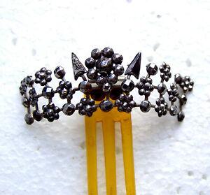 Victorian cut steel hair comb hinged coronet comb ornament headdress