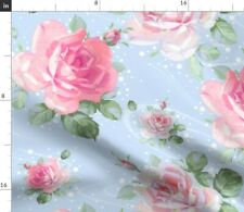 Roses Pink Flowers Blue And White Polka Dots Fabric Printed by Spoonflower BTY