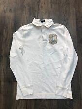 Mens Cream Ralph Lauren Polo Neck Long Sleeve Cotton Top - Size Small