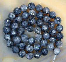 8mm Faceted Natural Black Labradorite Round Gemstone larvikite Loose Beads 15''