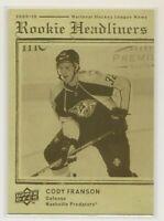 CODY FRANSON 2009-10 Upper Deck - Rookie Headliners #RH11 - Nashville Predators